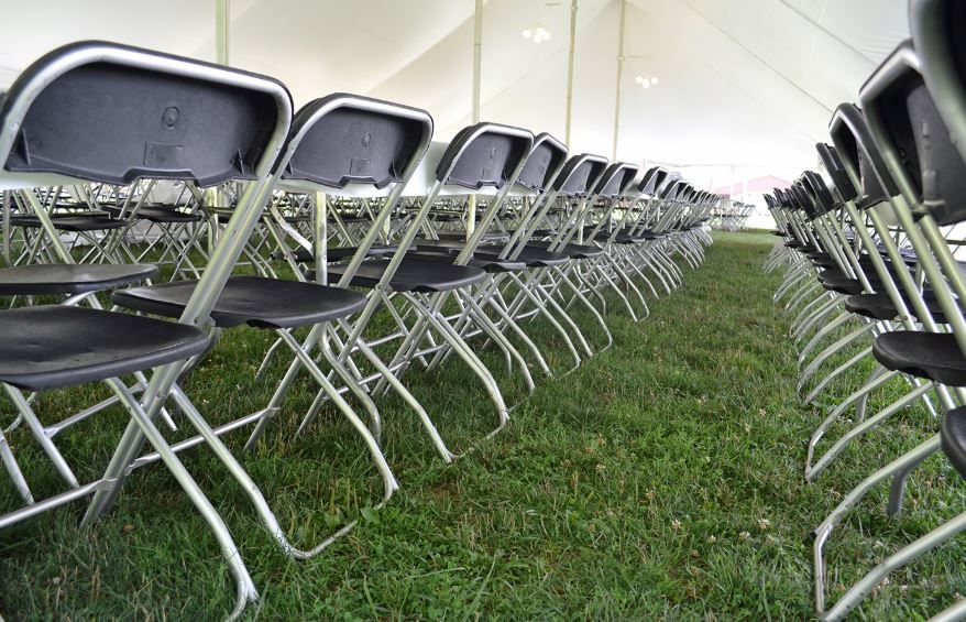 Alloyfold chairs in a row