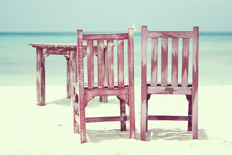 chairs and table on beach